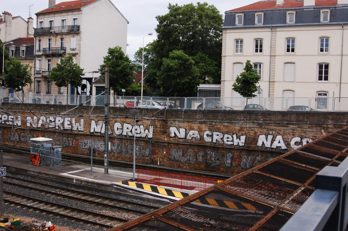 These are the train tracks in Nancy - I like the graffiti!