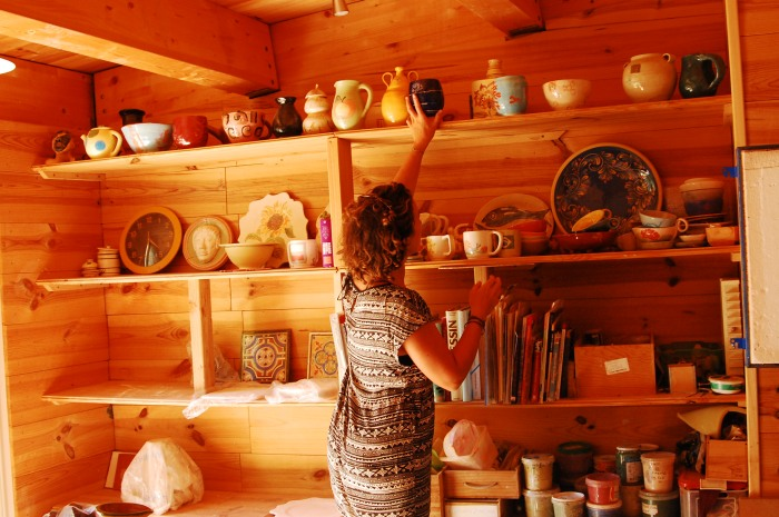 Flora's mom had her own pottery shop - how cool!
