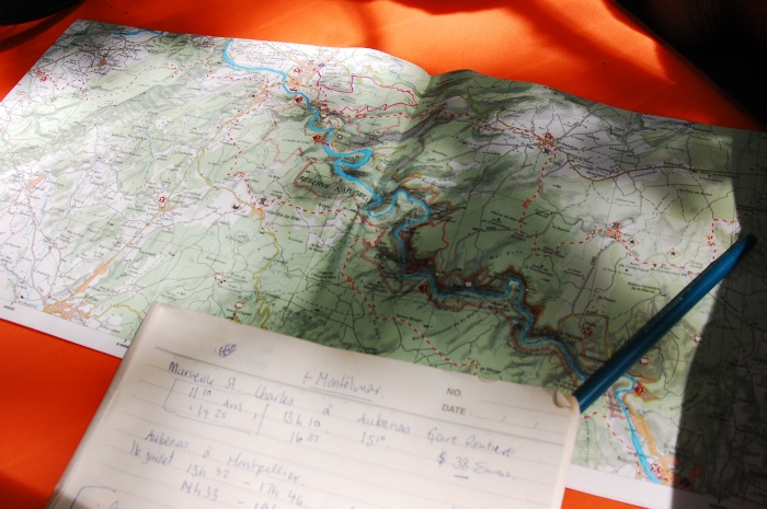 Planning my hike for the day