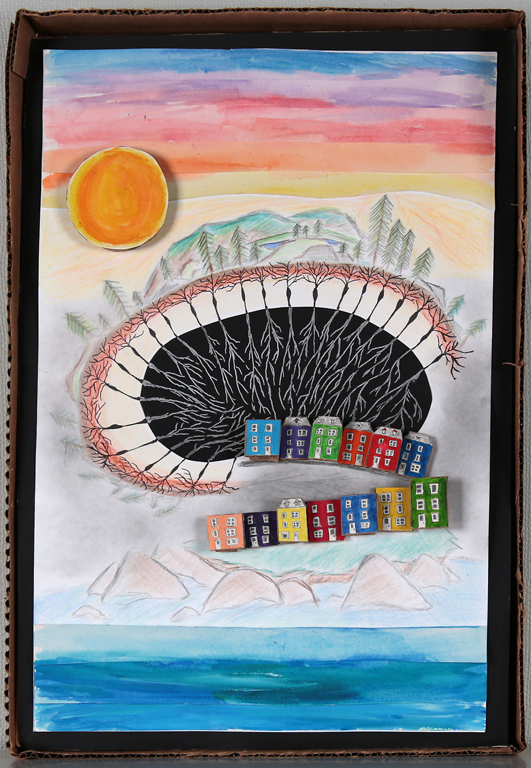 Recycled Remembering was a mixed media piece I created for the Arts and Letters Awards in Newfoundland. I was chosen as one of the finalists and this piece was displayed as part of an exhibit at The Rooms Gallery. You'll notice that I drew inspiration from neuroscience - the center structure is disguised as the hippocampus (an area of the brain responsible for memory formation and emotional regulation).