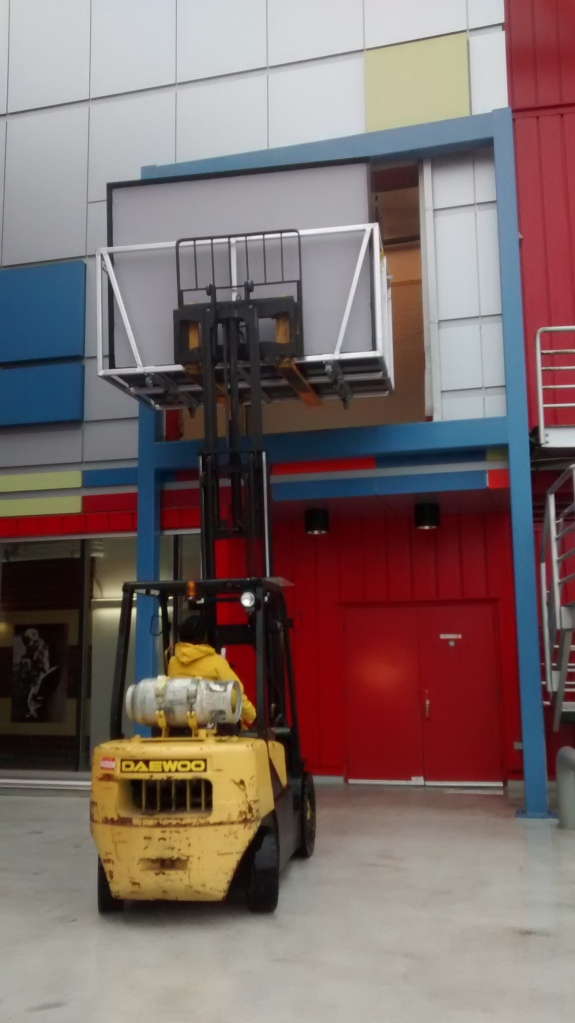 Lucky for us, we had a forklift to help us offload our exhibit